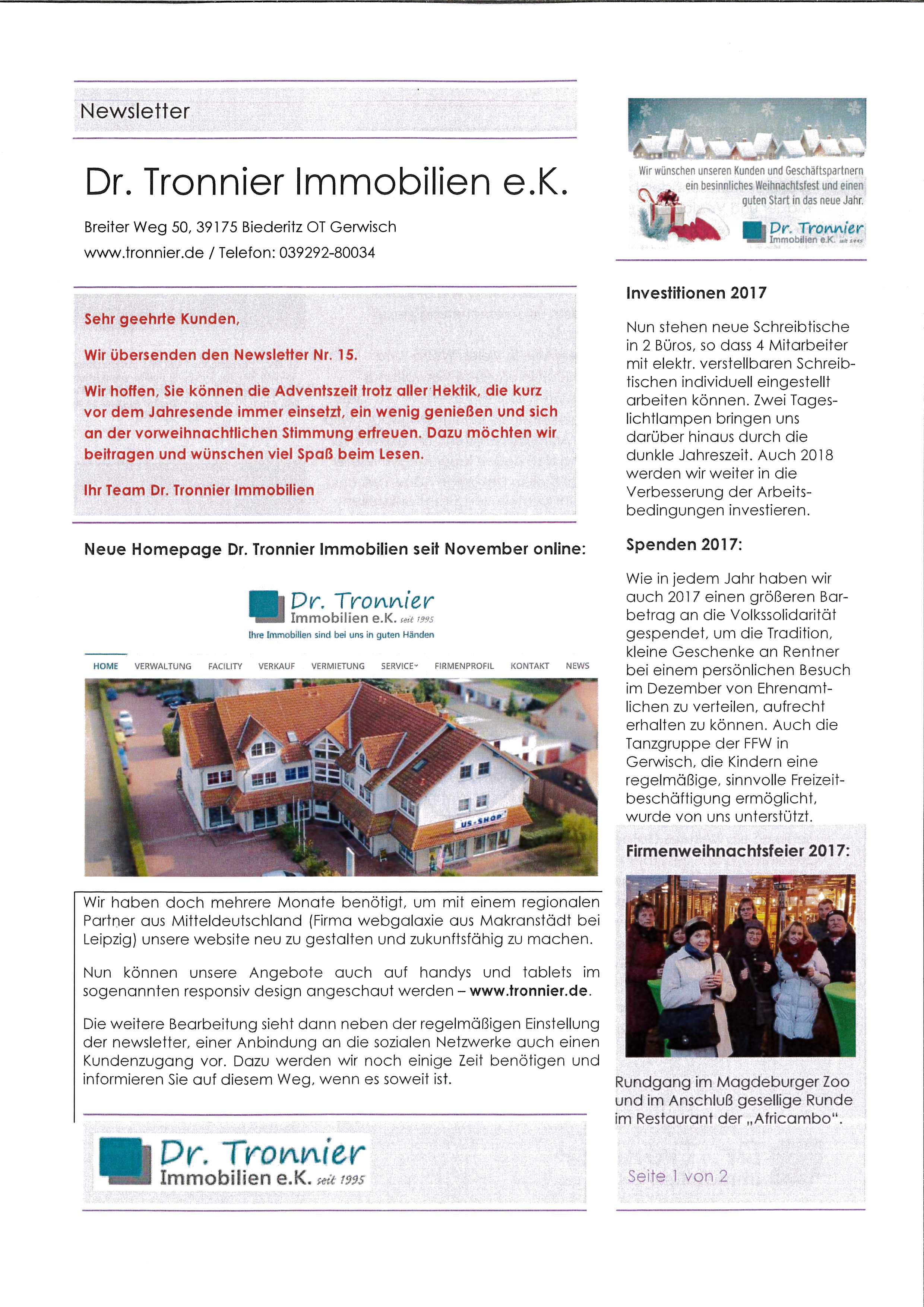Neuigkeiten - Dr. Tronnier Immobilien